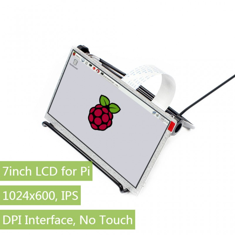Parts 7inch IPS Display for Raspberry Pi, DPI interface, no Touch, 1024x600,Compatible with Raspberry Pi 2B/3B/Zero/Zero W 7 inch raspberry pi 3 touch screen 1024 600 lcd display hdmi interface tft monitor module compatible raspberry pi 2 model b