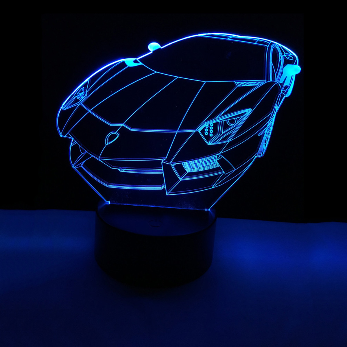 Colorful 3D Car USB LED Luminaria Acrylic Night Light Touch Switch Nightlight Home Decor Creative Atmosphere Bedroom Desk Lamp