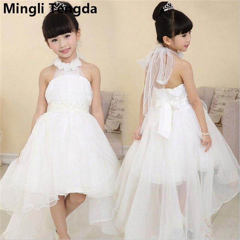 Mingli Tengda White Halter   Flower     Girl     Dresses   for Weddings   Flowers   and Beading   Girl     Dress   Off the Shoulder   Flower     Girl     Dress