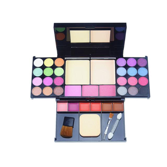 35 cores quentes Sombra Bastante Olho Shimmer eyeshadow Lip gloss paleta Blush Em Pó jogo de escova Profissional Maquiagem Cosméticos set