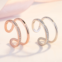 Korean Silver Fashion Double Exaggerated Index Finger Diamond Rings for Women Opening Adjustable Layer Jewelry