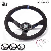 Car Drift Racing 3 5 Deep Dish 6 Bolt Suede Leather Aluminum EPMAN Racing Steering Wheel