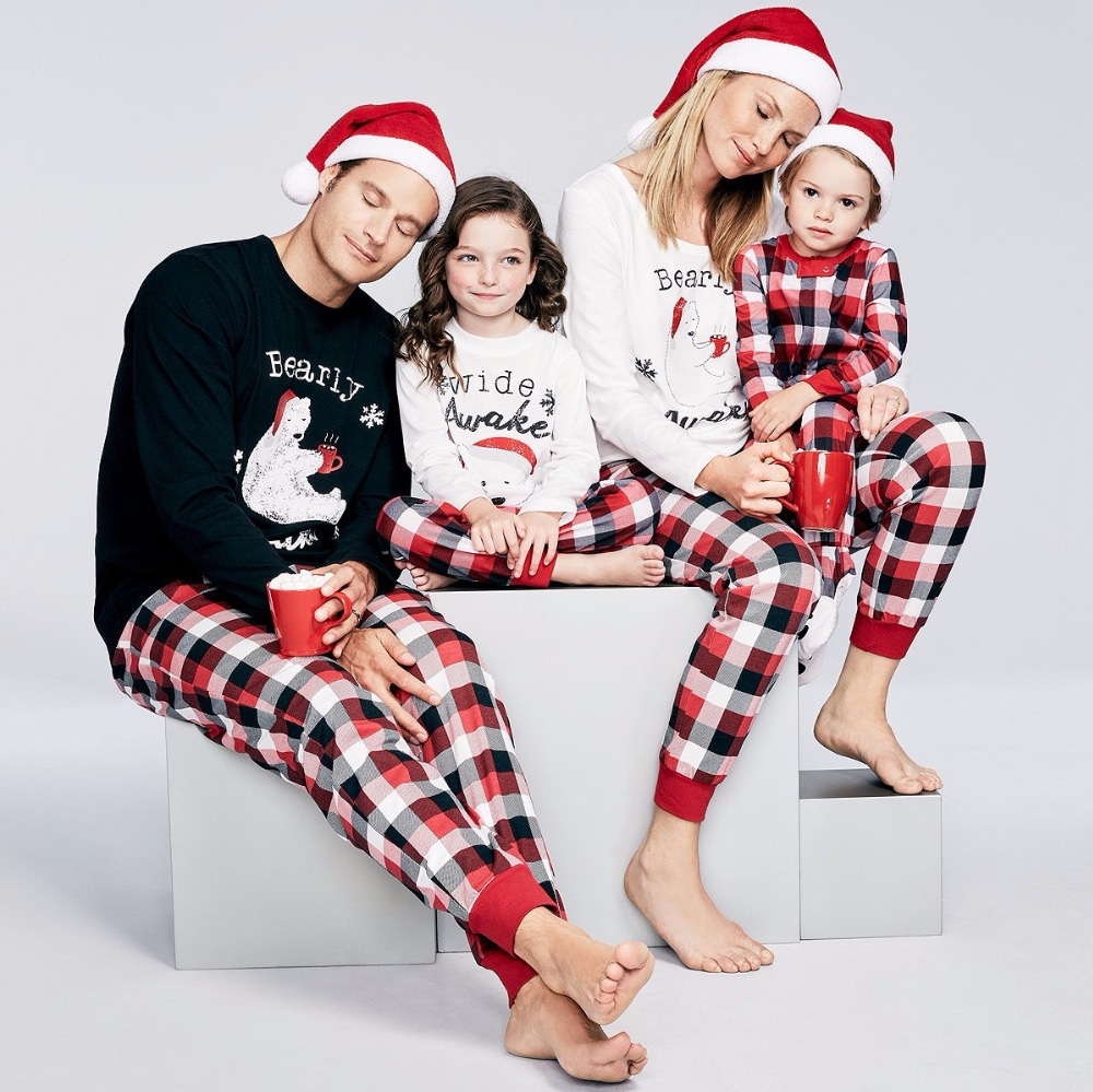 Family Look Polar Bear Christmas Pajamas Family Matching Clothes Outfits Mother Father Kids Baby Pajamas Set Sleepwear Clothing
