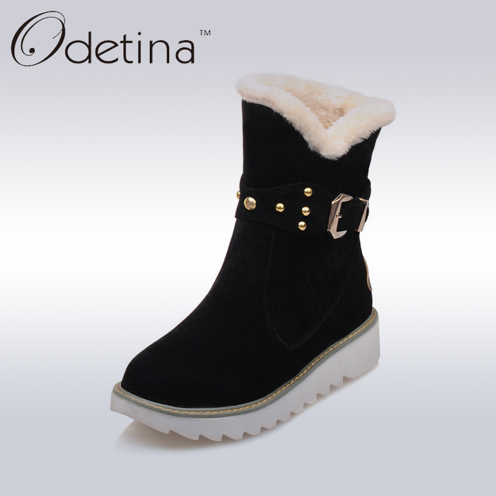 Odetina Black Buckle Strap Wedge Ankle Snow Boots 2016 Women Plush Winter Shoes Large Size Slip on Suede Short Booties Platform new winter shoes 2017 women boots casual ankle boots women slip on flats platform shoes with plush warm snow boots 7e27