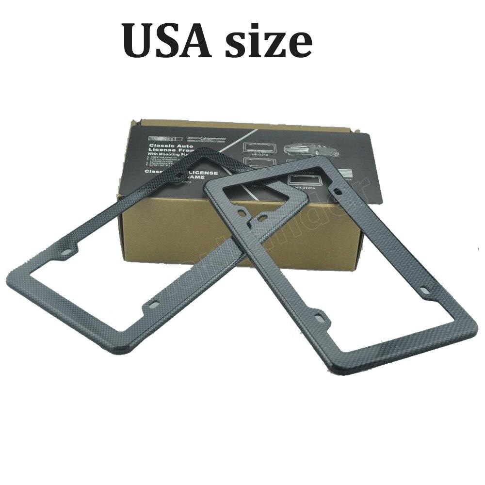2 stücke Schwarz Kohlefaser Gedruckt Stil Nummernschild Rahmen USA ...