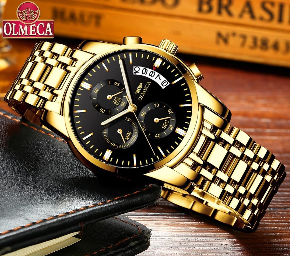 OLMECA Men Watch Luxury Watches Relogio Masculino 3ATM Waterproof Watches Calendar Wristwatch For Men Stainless Steel