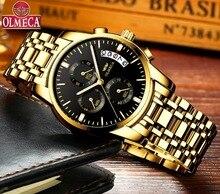 OLMECA Men Watch Luxury Watches Relogio Masculino 3ATM Waterproof Watches Calendar Wristwatch For Men Stainless Steel Band Saat