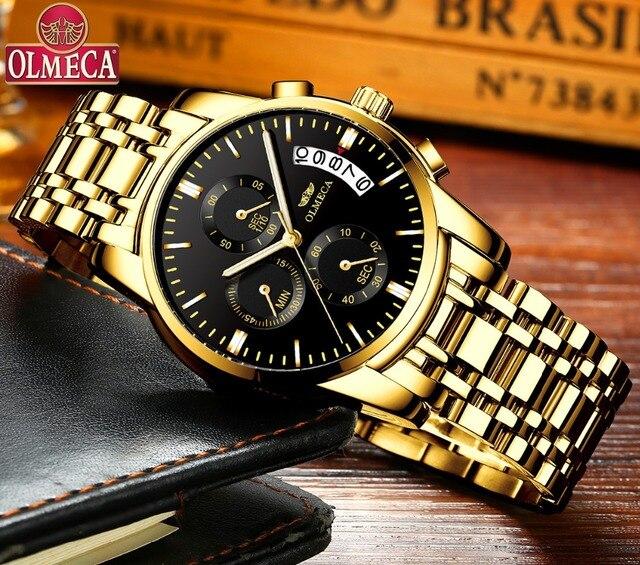 OLMECA męskie zegarki zegarki luksusowe Relogio Masculino 3ATM zegarki wodoodporne zegarek na rękę z kalendarzem dla mężczyzn pasek ze stali nierdzewnej Saat