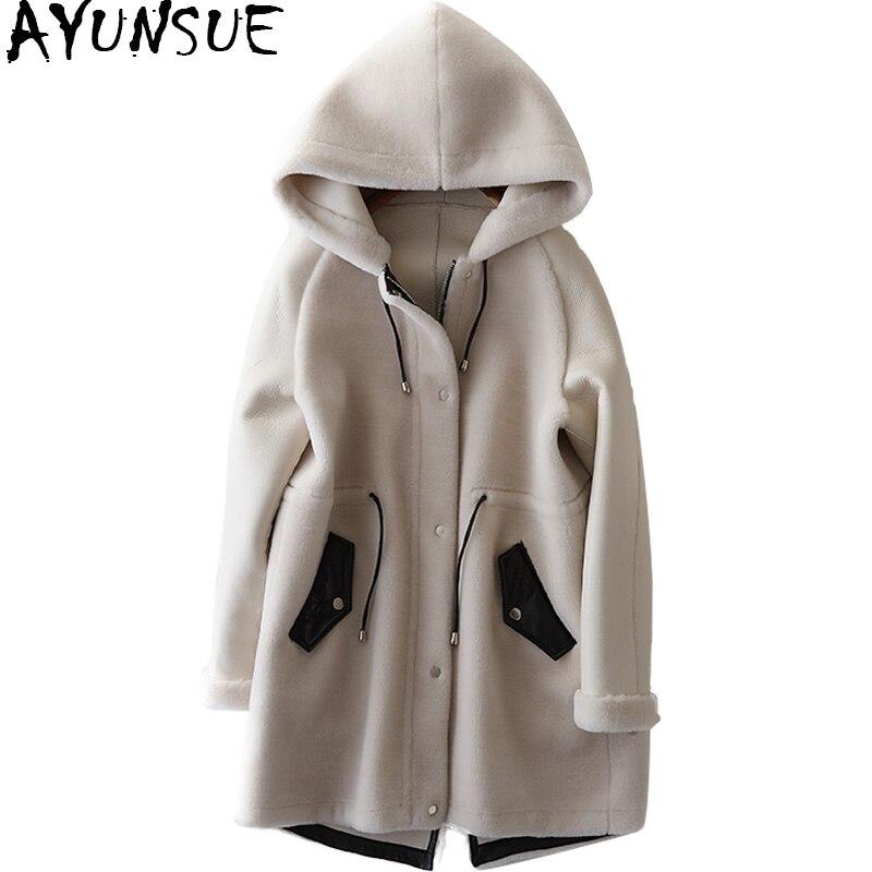 AYUNSUE 2018 Luxury Sheep Shearling Fur Coat Female Natural Wool Coats Hooded PU Leather Patchwork Winter Jacket Women WYQ1540