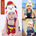 Children's Cute Fashion Warm Cap Winter Animal Bear Hats For Baby Earflaps Plus Velvet Thicken Knitted Caps Kids Boys Beanie Hat
