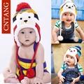 Children's Cute Fashion Warm Cap Winter Animal Bear Hats For Baby Earflaps Plus Velvet Thicken Knitted Caps Kids Boys Beanie Hat