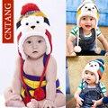Moda Bonito Cap Quente das crianças Inverno Animais Chapéus de Urso Para Protetores de Orelha do bebê Além de Veludo Engrossar Malha Bonés Crianças Meninos Gorro chapéu