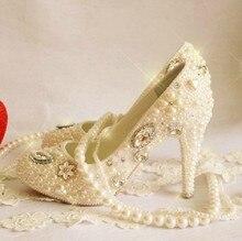 luxurious handmade fashion Formal Dress Shoes 10cm high princess Pearl rhinestone the crystal formal evening dress shoes