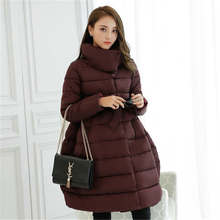 2016 New Fashion Women Winter Down Jackets Warm Long Slim Coat And Jacket Female Big Swing Red wine Ladies Snow Outwear