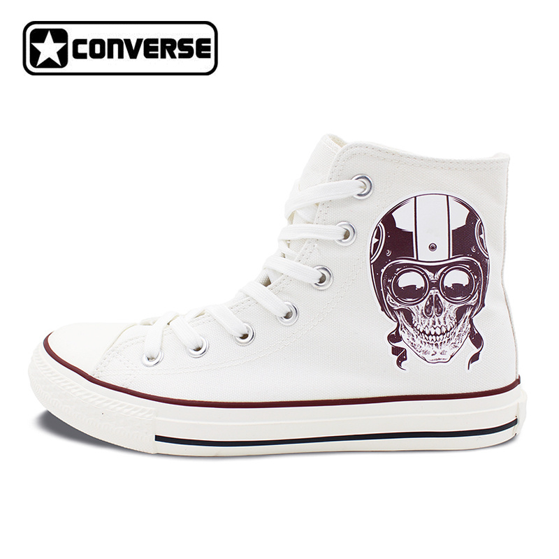Men Women's New Converse All Star Shoes Skull on the Motorbike High Top White Canvas Sneakers Birthday Gifts men women s converse all star shoes high top lace up flats design five food recipes on white canvas sneakers gifts