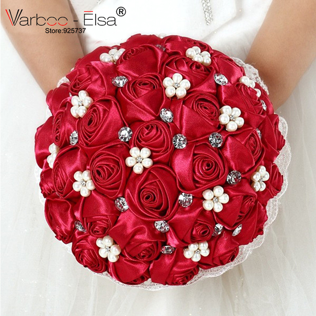 Free Shipping 100% New 2018 Wedding Bouquet Red Bridal Pearl Bouquet De Fleurs Mariage Jewelry Diamond Silk Roses Bridal Flowers