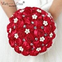 Gratis Verzending 100% Nieuwe 2018 Bruidsboeket Rode Bruids Parel Bouquet De Fleurs Mariage Sieraden Diamant Zijde Rozen Bruids Bloemen