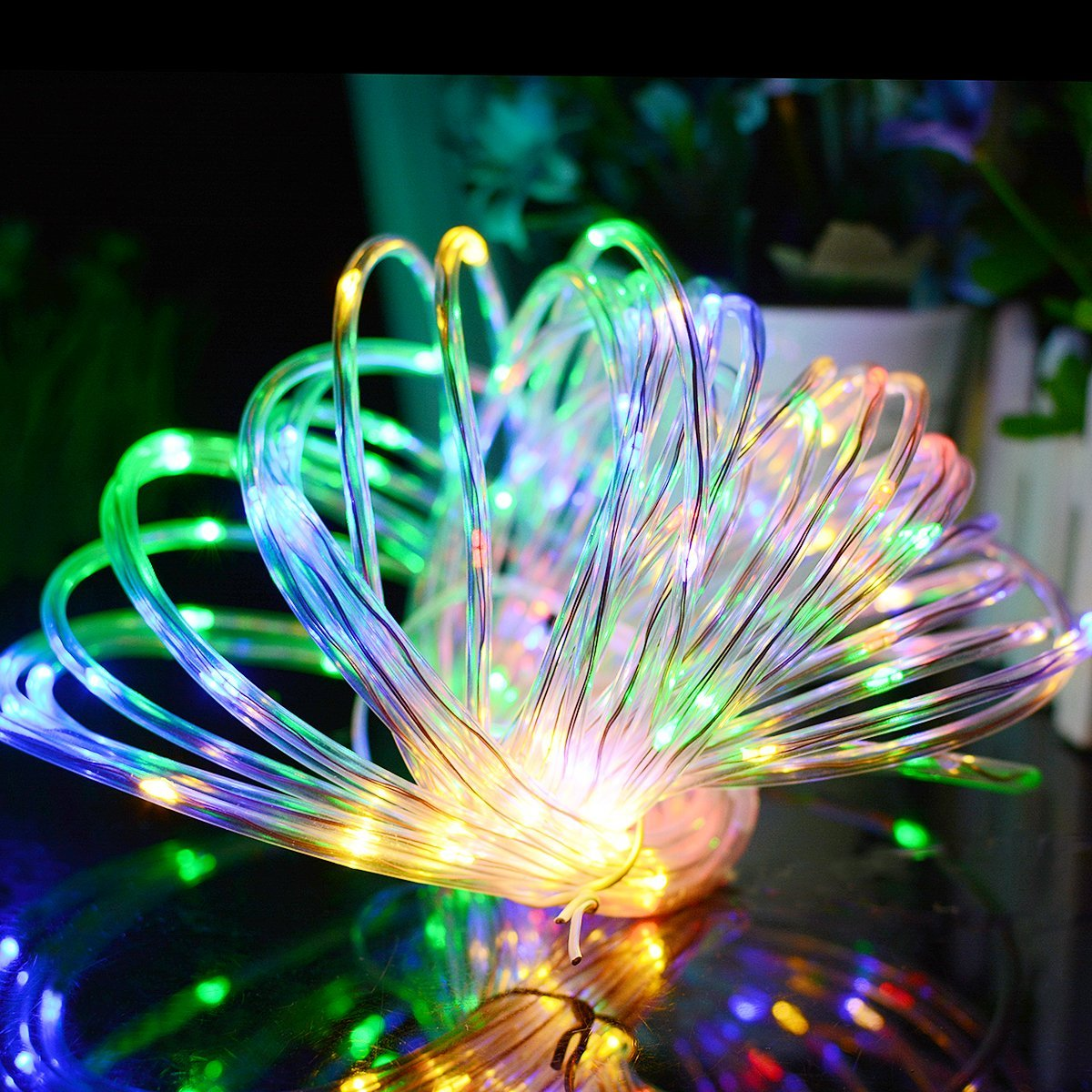 Solar Powered Rope lights 120 LEDs Holiday String Lights Outdoor Garden Party Lighting Rope String Lights Waterproof 2 Pieces