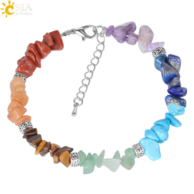 CSJA 7 Chakra Reiki Women Bracelets Chain Link Lobster Clasp Healing Balance Natural Chip Stone Beads Meditation Rainbow E446