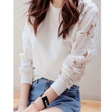 M womens summer sexy deep O-neck lace flowers long-sleeved fashion casual loose tops