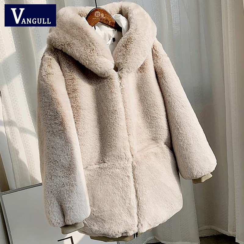 Vangull Winter Thick Warm Fur Coat 2019 New Fashion Women Hooded Long Sleeve Faux Rabbit Fur Jacket Coats Luxury Winter Outwear