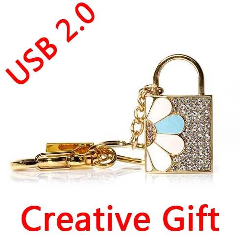 Sliver Diamond Lock USB Flash Drive 512GB 16GB 32GB USB 64GB 128GB Gift Jewelry Pen Drive Pendrive 256GB Memory Stick 2.0 Gift