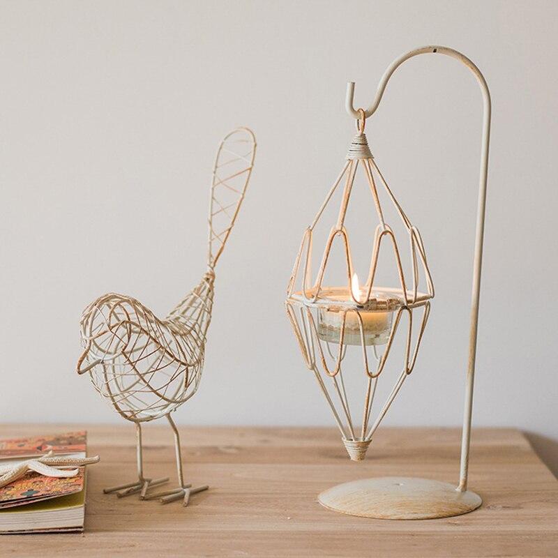Bird nest iron wire knitted lantern tea-light candle holder for desktop decoration crucifixo pingente de ouro masculino