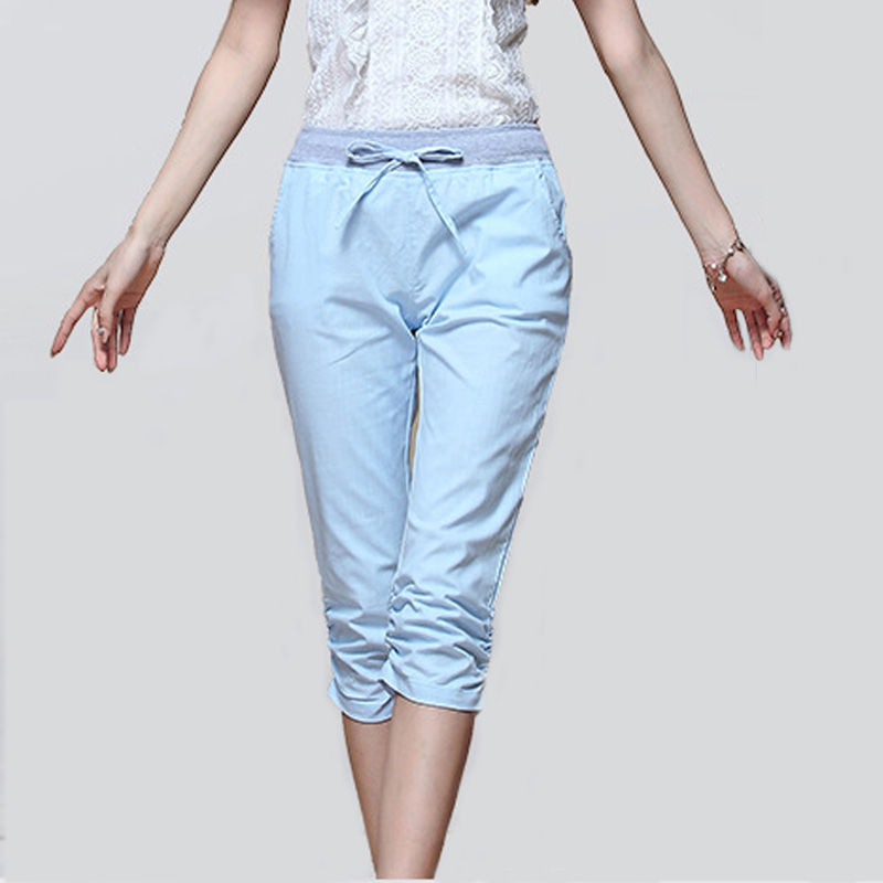 Online Buy Wholesale womens linen capris from China womens linen ...