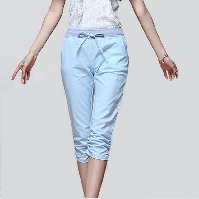 3fc7b77068a 2018 Linen Pants Summer Women Calf Length Harem Pants Colorful Casual  Elastic Waist Pants Capris Trousers