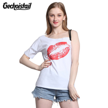 Geckoistai  2017 New Skew Collar Single Straps T-Shirts Women Red Lips Ptinted Short Sleeve White T Shirt Casual Summer Tops