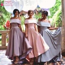 Boat Neck Off the shoulder Bridesmaid Dresses elegant Satin charming simple Wedding guest dresses Satin formal gowns  Z1048