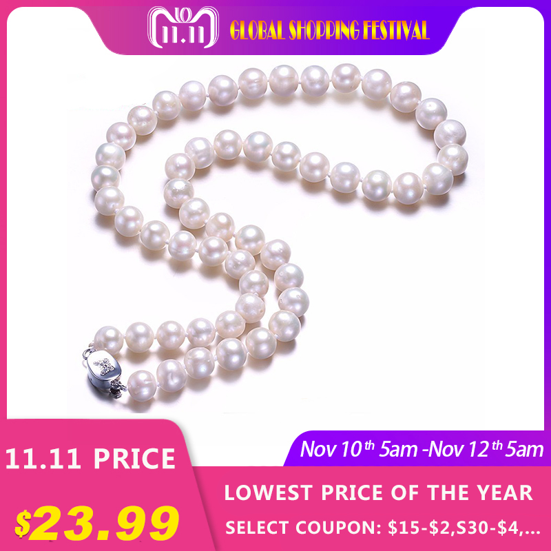 White Real Natural Near Round Pearl Jewelry Women Necklace,925 Sterling Silver Butterfly Buckle,8-9mm 45cm Fine Beads Jewelry 2 3mm red natural agate necklace multi layers 925 sterling silver with real pearl fine womne jewelry wedding party necklace
