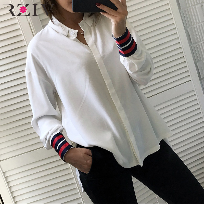 RZIV Spring women   blouse   and female   blouse     shirt   solid color stitching loose-fitting   shirts   top