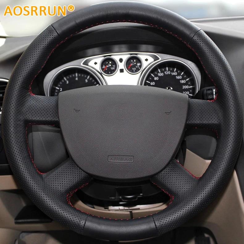 AOSRRUN Car-styling Կաշի ձեռքով կարված մեքենայի ղեկի ծածկոցներ Ford Kuga- ի համար 2008-2011 Focus 2 2005-2011 Ավտոմեքենաների պարագաներ