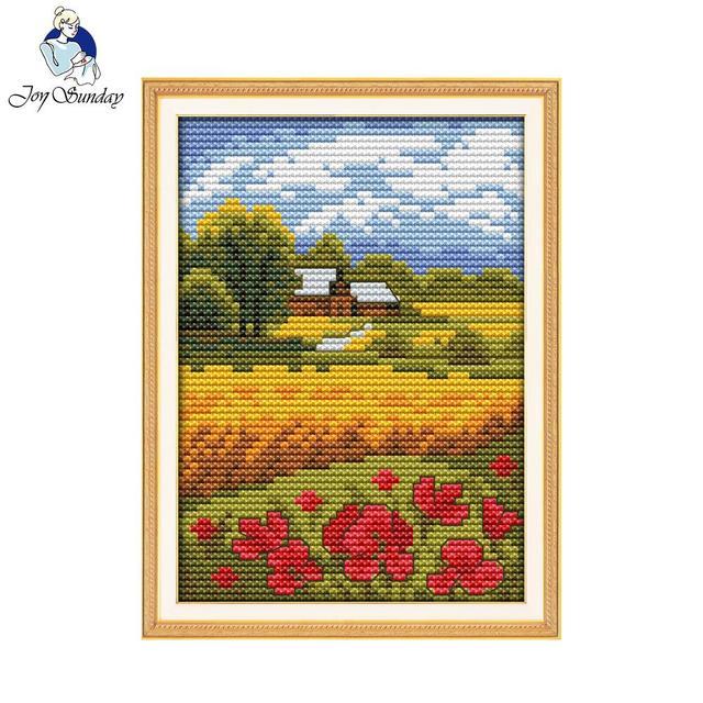 Joy Sunday Scenic Style Beautiful Field Mini Cross Stitch Embroidery