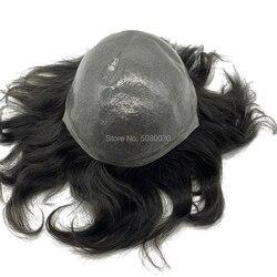 Peluquín de piel fina natural, extensiones de cabello remy en stock