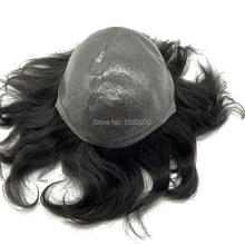 Peluquín de piel fina natural cabello remy piezas stock