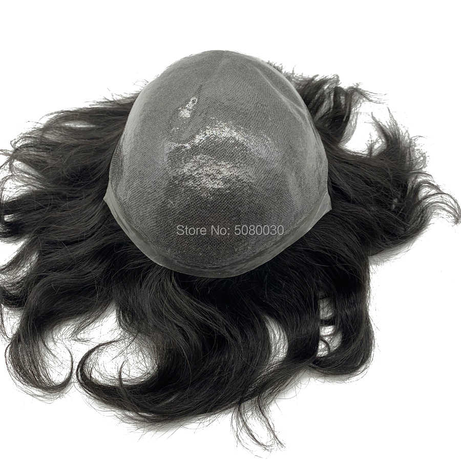 Peruca de pele fina natural hairline remy peças de cabelo estoque