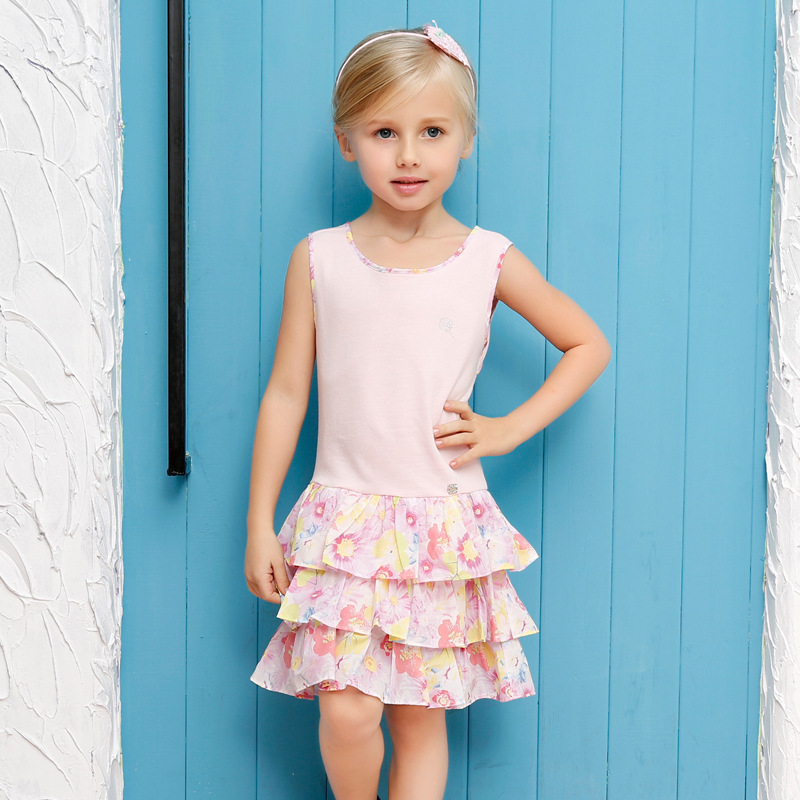 2016 Children Summer Pleated Evening Dress Baby Girl Floral Print Princess Dress Girls Party Dress Kids Quality Cotton Clothes