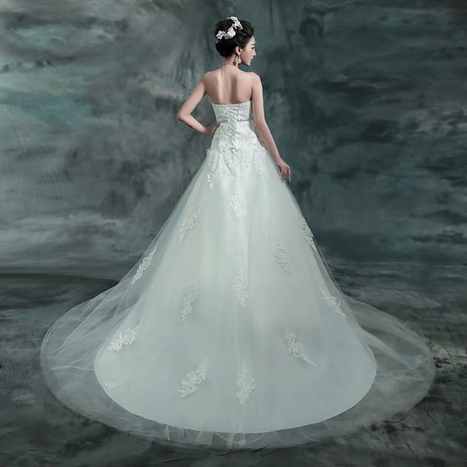 2016 Luxury Lace Backless Chapel trail wedding dress 2015 fashion ...