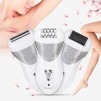 Kemei 3 In 1 Lady Depilacion Epilator Electric Shaver Hair Remover Electric Female Depilatory Foot Callus