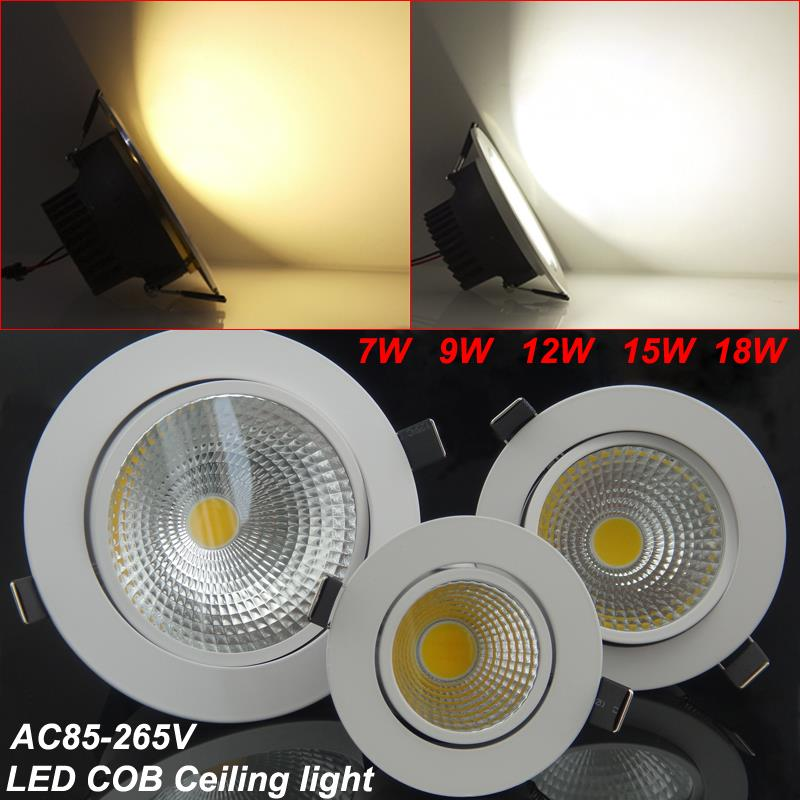 New 7W 9W 12W 15W 18W Dimmable Recessed Warm cold white led downlight COB LED Spot