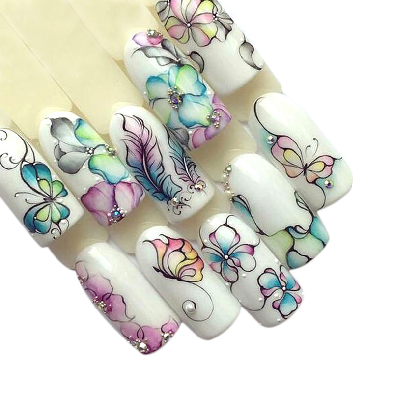 1 Sheets Colorful Purple Fantacy Flowers Nail Stickers Water Transfer Manicure Decals Tip Decoration Stickers For Nails TRSTZ509