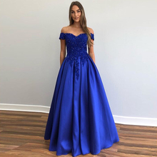 Off Shoulder Royal Blue Prom Dress A-line Appliques Beaded D