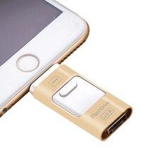 Otg usb flash drive de 16 gb 32 gb 64 gb pendrive para iphone 6, 6 más 5 5S ipad pen drive hd tarjeta de memoria móvil de doble propósito