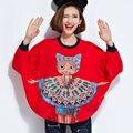 División Irregular Streetwear Impresión de la Historieta Camiseta Roja de Las Mujeres de Manga Larga Camisetas Mujer Camisetas Mujeres Tops Camisetas Otoño Invierno