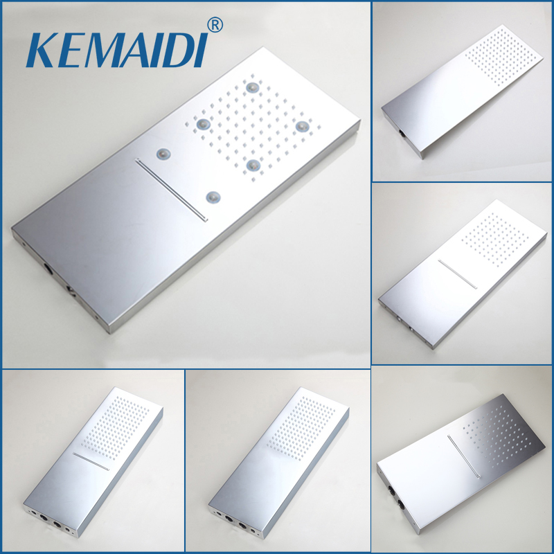 KEMAIDI Luxury LED Light New Chrome Rainfall Square 304 Stainless Steel Shower Head Bathroom Shower Wall Mounted Basin Overhead ydl bd007 1 24 temperature control 40 led rgb light 304 stainless steel square shower head silver