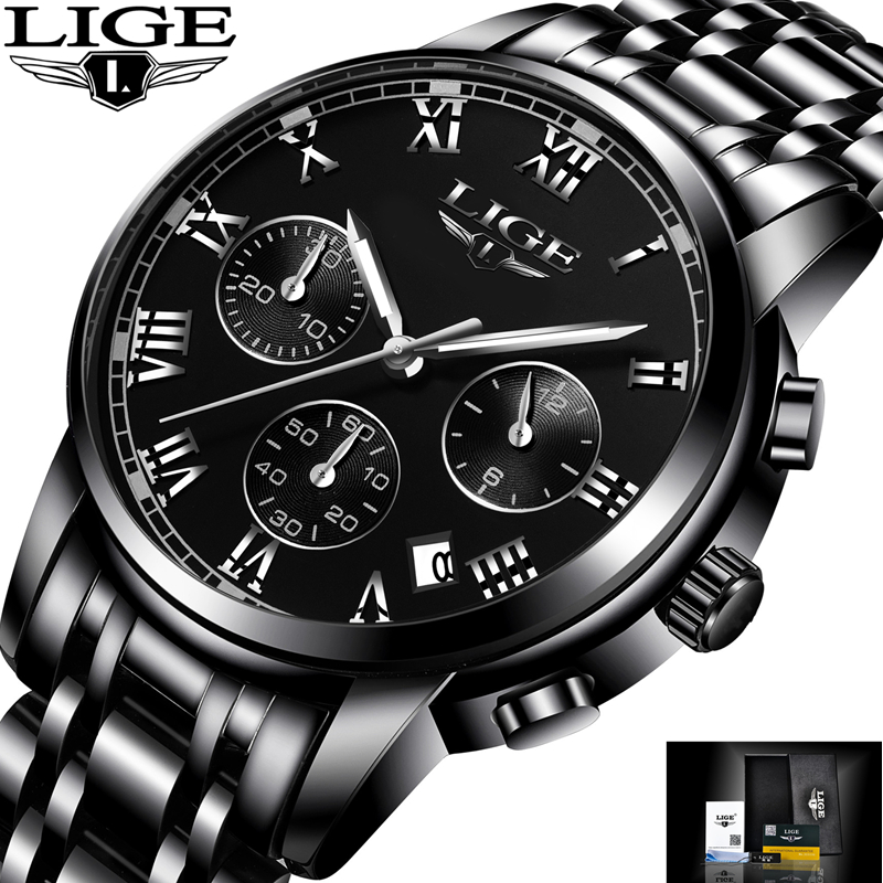 LIGE Fashion Sport Watch Mens Watches Top Brand Luxury Quartz Watch Men Full Steel Waterproof Business Watches Relogio Masculino lige mens watches top brand luxury man fashion business quartz watch men sport full steel waterproof clock erkek kol saati box