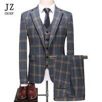 JZ главный элегантный Для мужчин свадебные 3 предмета костюмы желтый плед Жених Свадебный костюм Slim Fit Повседневное Бизнес пальто брюки жиле