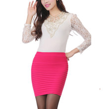 New Fashion Summer Women Skirts High Waist Candy Color Pencil Skirt Plus Size Elastic Pleated Mini Skirt(China)